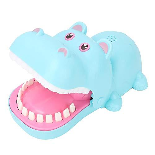 Hippo Zahnarzt Biss Finger Spielzeug tragbare Cartoon Hippo Mund mit Zähnen Spielzeug Biss Finger Brettspiel Kinderspielzeug(Blau)