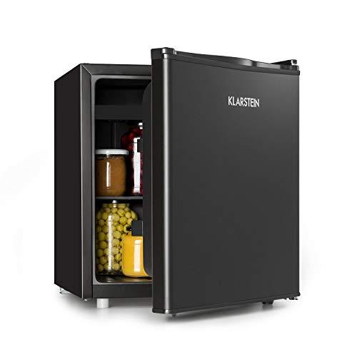 Klarstein Obsidian - Kühlschrank, Mini-Kühlschrank, Volumen: 48 Liter, innen und außen schwarz, 7 Kühlstufen, Eiswürfelform, Eisfach, Tropfschale, leise 42 dB, schwarz