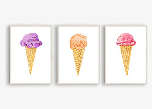 Din A4 Kunstdruck ungerahmt 3-teilig - Eis Eistüte Waffel Eiskugel Orange Lila Pink Küche Esszimmer Aquarell Geschenk Druck Poster Bild