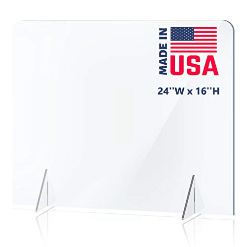 No Opening Sneeze Guard Panel for Counter and Desk, No Cutout Protective Plexiglass Shield, No Hole for Business, Office, School (24''W x 16''H)