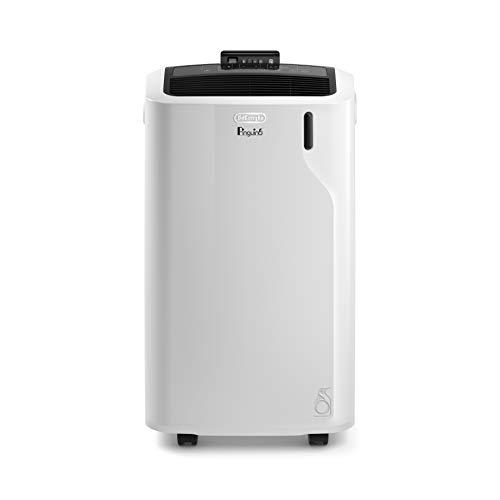 De'Longhi Pinguino PAC EM93 Silent - Condizionatore portatile con tubo di scarico, deumidificatore e ventilatore, per ambienti fino a 95 m³, filtro antipolvere integrato e timer 24 ore, bianco