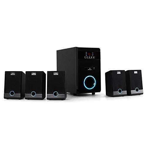 auna MM-5.1-JW - Sistema de Sonido Envolvente 5.1, 95 vatios de Potencia RMS, Home Cinema, Sonido Surround, Timer programable, Efecto de iluminación LED Azul, Función Mute, Antracita