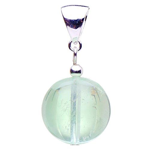 Anhänger aus Fluorit Kugel grün & 925 Silber, Ø16mm, glatt, Halsschmuck, Damen