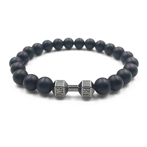 CMAO Llegada 8mm Esmerilado Mate Beads & Alloy Fitness Dumbbell Bracelet para Mujeres Hombres Energy Gym Barbell Jewelry Bangle Pulsera,1