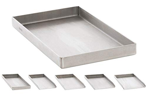 CLP Edelstahl Grillplatte für den Gasgrill, Kohlegrill und den Elektrogrill I Bratplatte mit glatter Oberfläche edelstahl, 26x44,5x4 cm