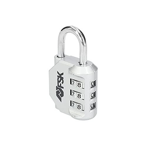 Ferrestock FSKCAN327SI Lucchetto a combinazione numerica con 3 cifre, per bagagli, armadietti da palestra, arco da 23 mm, realizzato in zinco e arco in acciaio, colore: argento
