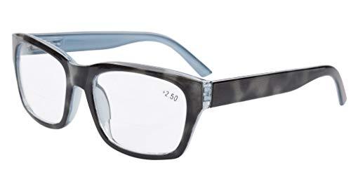 Eyekepper Polycarbonate Large Lens Line Bifocal Glasses Readers Grey +2.0