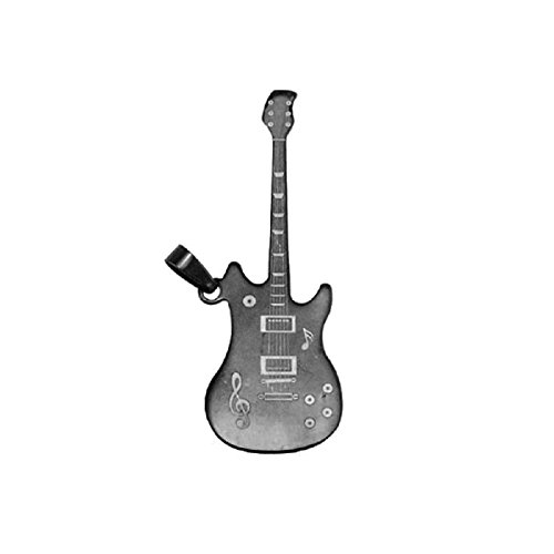 Line.bijoux hanger gitaar, staal, kleur zwart, afmetingen 70 x 25 mm