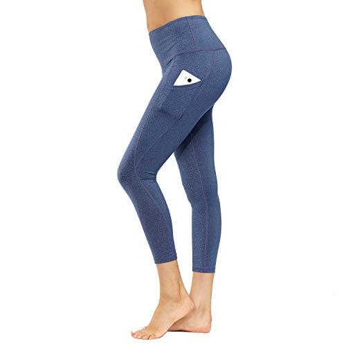 HMIYA Damen Leggings, Lang Frauen Sporthose Yogahose Blickdicht Fitnesshose(Blau Lila,S)