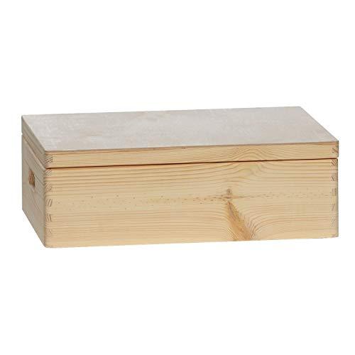 bütic cajón Multiusos, Caja de Madera, Madera Caja apilable con y sin Tapa en Diversos tamaños, Kiste mit Deckel 40 x 30 x 14 cm