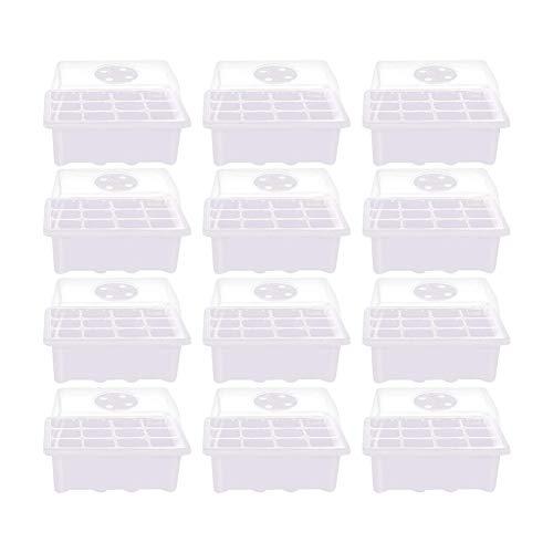 Invernadero interior Mini invernadero Invernadero Macetas para plantas de cultivo Crianza marco frío Sistema de invernadero y jardinera Invernadero interior con cubierta ventilable (12 piezas)