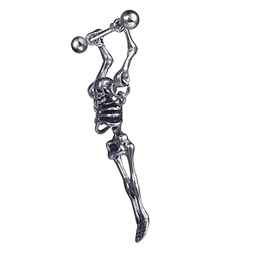 Pendientes góticos con diseño de calavera en 3D para hombre, estilo hip hop, rock, de acero inoxidable, para hombre o mujer,