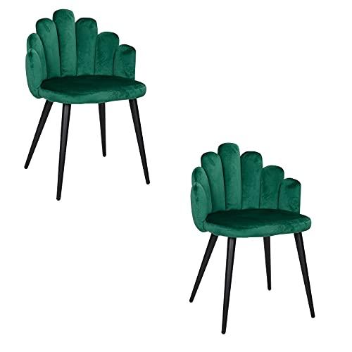 Un conjunto de 2 sillones, diseño en forma de dedo, asiento de franela, apto para salón, dormitorio, centro comercial, etc. (verde)