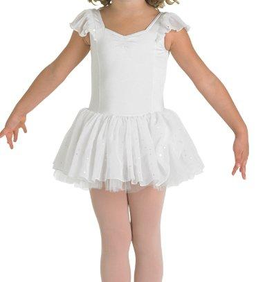 Kinder Ballettanzug mit Voile-Ärmelchen und doppeltem Glitzer-Tüllröckchen, weiss 8-10 J.