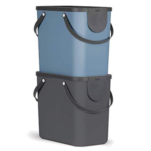 Rotho Albula 2er-Set Mülltrennungssystem 25l für die Küche, Kunststoff (PP) BPA-frei, anthrazit/blau, 2 x 25l (40,0 x 23,5 x 39,0 cm)