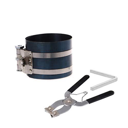 Pinh - Juego de alicates, compresor de anillo de pistón y soporte de anillo de pistón, extractor de alicates, expansor, herramienta de motor, estilo de carraca