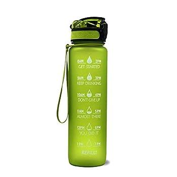 Feel-ling Bouteille d'eau de sport, de remise en forme, respectueuse de l'environnement, avec échelle de temps, rappel pour boire de l'eau (1 l/7 styles au choix)