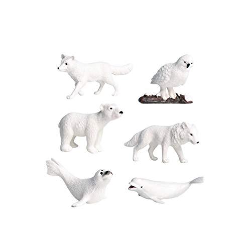 NUOBESTY Todas Las Figuras de Animales Árticos Blancos Juguetes Oso Polar Educativo Preescolar Cake Toppers para Niños 6Pcs