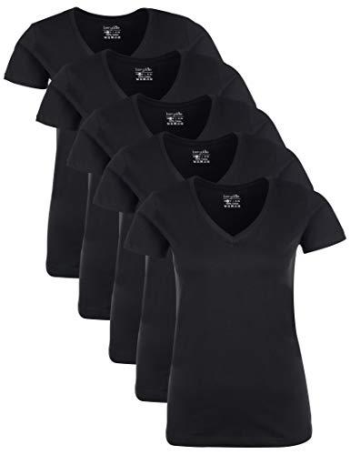 Berydale Damen für Sport & Freizeit, V-Ausschnitt , 5er Pack , Schwarz (Schwarz Schwarz - 5er Pack) , Large