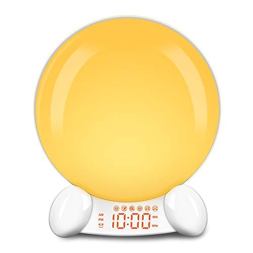 DreamSky Wake Up Light Alarm Clock for Kids, Simulated Sun Rising Light with 6 Natural Sound, Digital Clocks with USB Charger, FM Radios, White Noise Sleep Aid, 7-Color Light Nightlight for Bedrooms