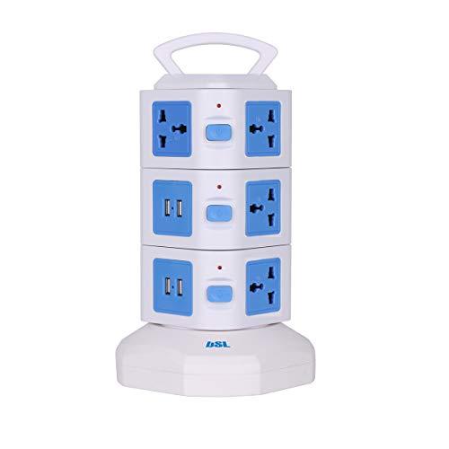 : Multipresa a torre EBSL-88 | con base girevole | 10 prese AC universali | 4 prese USB | Cavo retrattile da 1,80 m | Indicatori LED | Protezione da sovraccarico | Maniglia di trasporto