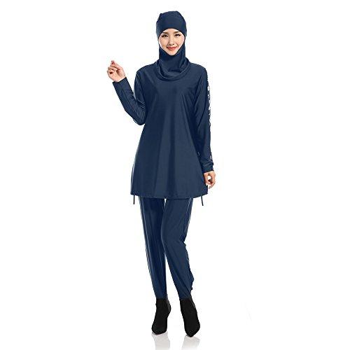 XFentech Femmes Musulmanes Maillot de Bain Modeste Couverture complète Beachwear Islamique Burqini Burkini