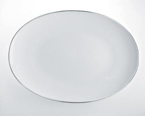 Alessi Sg70/22 38 Mami Platinum Plat de Service Ovale en Porcelaine Blanche, Décorée