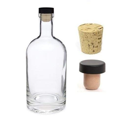 Nakpunar 25 oz Nordic Heavy Base Glass Liquor Bottle with T-Top Synthetic Cork with Bonus Regular Bottle Cork - Made in USA