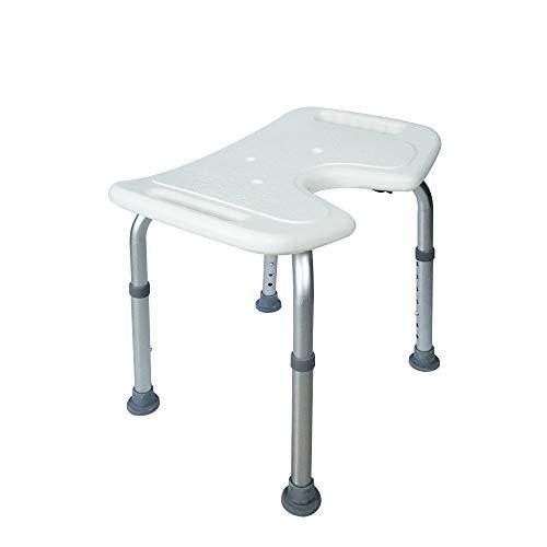HENGMEI Aluminium Höhenverstellbar Badhocker Duschstuhl Duschhilfe Duschsitz Badsitz Duschhocker für die professionelle Pflege (Modell B)