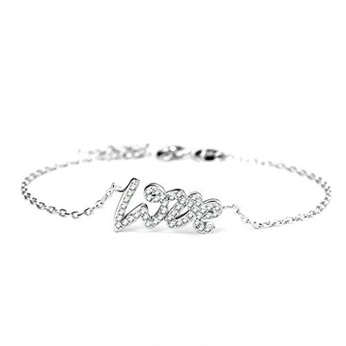 Bishilin S925 srebrna bransoletka miłosna z literami kryształ srebrna dla kobiet