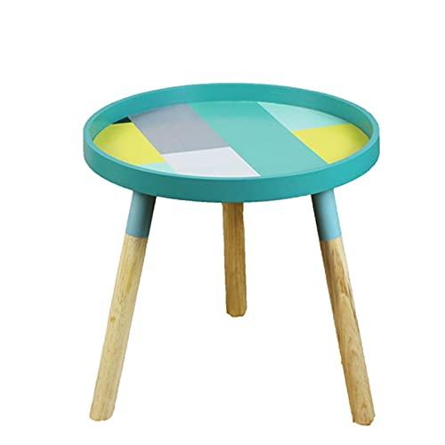 SHUJINGNCE Furniture Strongwell nordiska små färska soffbord soffbord kafé bord basse trä lågt bord runda bord rum heminredning (färg: blå)