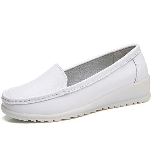 ZYEN Women's All White Nursing Shoes Comfortable Slip On Nurse Work Wedge Leather Loafers Size 7.5 6616baise38