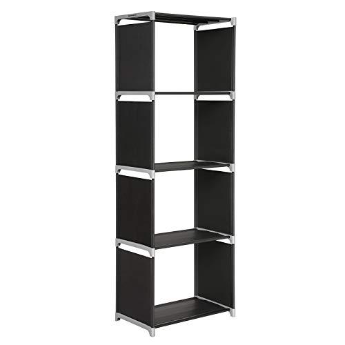 SONGMICS LSN14H-Estantería de pie (4 Compartimentos, 147 x 50 x 30 cm), Tela, Negro, 50 x 30 x 147 cm