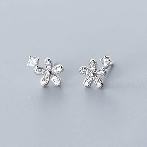 BEWITCHYU Pendientes de Plata S925, Pendientes de Flores de Cinco Pétalos para Mujer con Diamantesplata, Plata 925