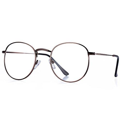 Pro Acme Classic Round Metal Clear Lens Glasses Frame Unisex Circle Eyeglasses (Bronze)