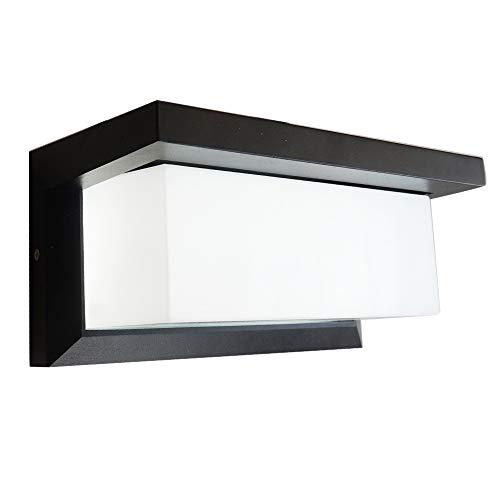 Modern Outdoor Wall Porch Lights, Led Exterior Lamp Ip65 Waterproof Matte Black Wall Mount Fixture, 6000k 12W for Patio Hallway
