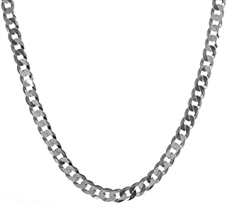 Solid Silver .925 Italian Link Cuban Curb Chain Necklace - 1.7mm to 11mm Width - 16in to 30in Length