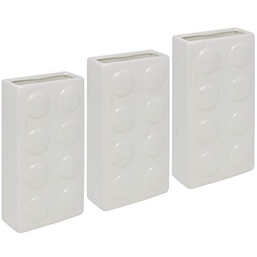com-four® 3X Humidificador Radiador - Evaporador para Humidificar el Aire en Blanco - Evaporador de Agua de Cerámica en Diseño Ficha de Dominó (03 Piezas - dominó)