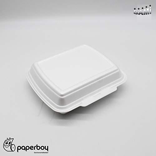BAMI 125 Stück Styroporbox, Menübox, Menüboxen, Imbissboxen, Lunchbox 23x19x7,5cm, HP4 - (ungeteilt)
