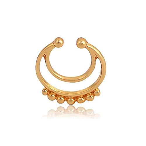 Daesar 1pcs Pendiente Nariz Luna Bolas Piercing de Nariz Acero Quirurgico Oro