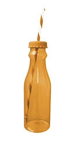Zakdesigns 0828-0170 Bouteille de Soda avec Paille Polypropylène/Tritan Orange/Blanc 45 x 35 x 25 cm 700 ml