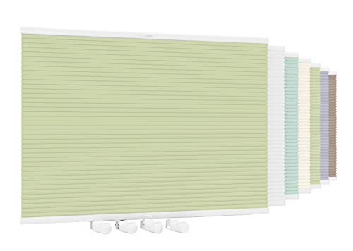 Aloha Doppelplissee Wabenplissee Verdunkelung Wärmeisolierung Honeycomb Honigfalte Zweifarbig ohne Bohren Klemmfix (Weiß-Khaki / 95x120cm / Breite x Höhe)