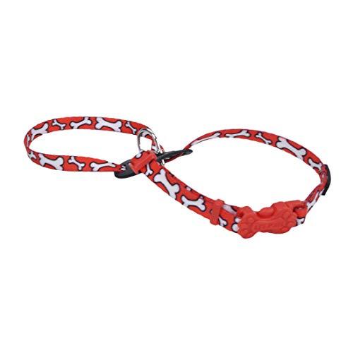 Coastal - Li'l Pals - Adjustable Patterned Dog Harness, Red and White Bones, 3/8