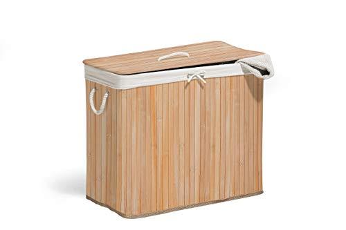 Bamboe wasmand 60 cm hoog in verschillende uitvoeringen 2-geteilt naturel