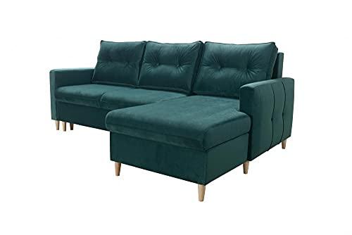 Ecksofa Candy Sofa Wohnlandschaft Couch Links Rechts mit Schlaffunktion Bettkasten Möbel 26 (Rechts)