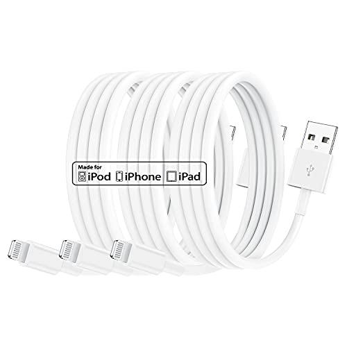Paquete de 3 Cables de Cargador de iPhone con certificación MFi de Apple de 1 m, Cable de Apple Lightning a USB de 1 Metro para iPhone 11 / 11Pro / 11Max / X/XS/XR/XS MAX / 8/7/6 / iPad 5S / SE