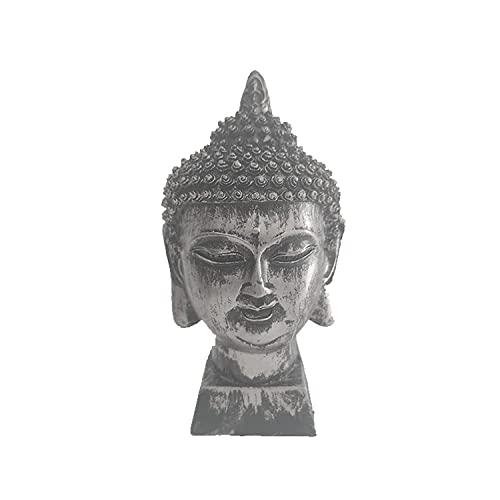 Buda Cabeza De Buda - Figura Decorativa Feng Shui - Decoración Zen Zen para Interior Exterior - Escultura Color Plata