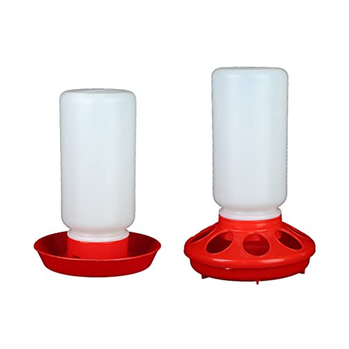 NAYIYE Chick Feeder and Waterer Combo 1 Quart Chicken Feeder & 1 Quart Chicken Waterer Birds Poultry Feeding Equipment Kit Red Baby Chick Waterer and Feeder for Brooder Small