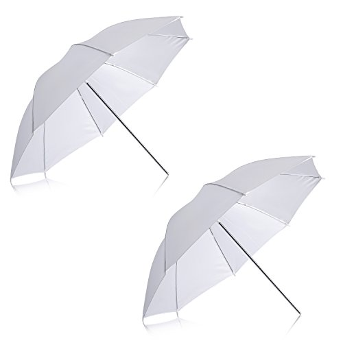 Neewer® 2 Stück 84 cm weißer, durchscheinender, weicher Regenschirm für Foto- und Videostudioaufnahmen