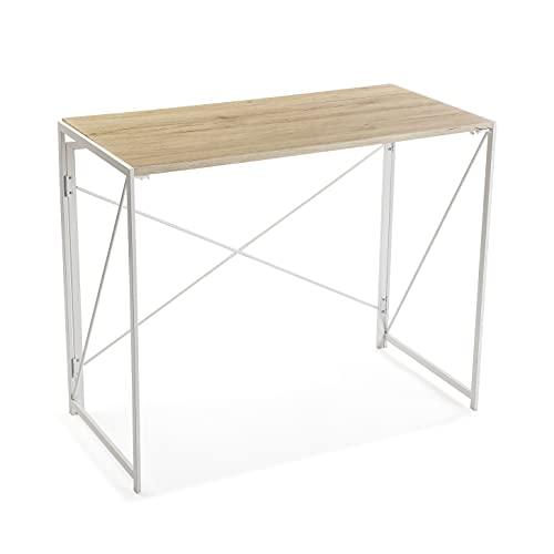 Versa Jack Mesa Escritorio para el Ordenador, Mesa para la Habitación o Estudio, Plegable, Medidas (Al x L x An) 74 x 45 x 90 cm, Madera y Metal, Color Blanc